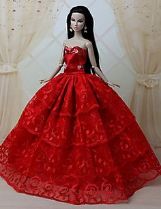 Barbie Doll - Festa e Noite - Vermelho - de Organza/Renda - Vestidos - com Vestidos