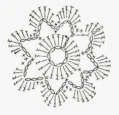 Crochet Snowflake Pattern, Crochet Flower Tutorial, Crochet Snowflakes, Crochet Flower Patterns, Crochet Squares, Crochet Designs, Crochet Flowers, Crochet Diagram, Crochet Chart