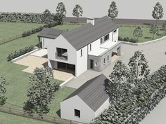 Rathnaleen 2008 by Darragh Quinn Architects House Plans 2 Storey, Two Story House Plans, Two Storey House, Dream House Plans, House Designs Ireland, Driveway Design, Facade House, House Facades, American Farmhouse