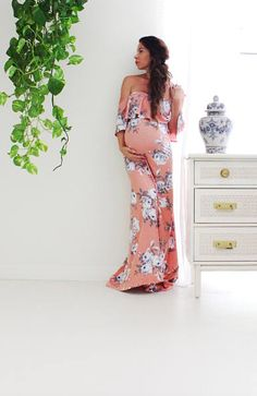 Absolutely love this maternity maxi dress! Click this pin to find it on Etsy! Maternity dress long fitted maternity dress gender reveal babyshower- The love flounce in full Floral with train, maternity clothes, maternity outfit, maternity style, maternity wardrobe, maternity, pregnancy, bump, belly, #ad #materntiydress