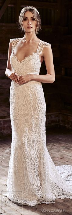 anna campbell 2018 bridal cap sleeves sweetheart neckline full embellishment elegant sheath wedding dress lace rasor back sweep train mv -- Anna Campbell 2018 Wedding Dresses Anna Campbell, Wedding Dresses 2018, Wedding Attire, Dress Wedding, Wedding Bride, Sweetheart Wedding Dress, Bohemian Bride, Groom Attire, Bridal Collection