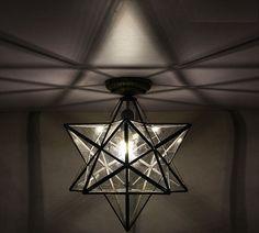 Transparent Glass Moravian Star Ceiling Wall Lamp Flush Mount Iron Lighting Lamp #haidy #Modern