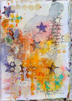I am inspired by free-form jounalling, some words, some images, colors that fade in and out . . . like this piece! Dina Wakley Art Journal