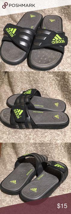 ADIDAS flip flops GUC. Minor scuffs as pictured.  Box D. adidas Shoes Sandals & Flip-Flops
