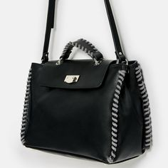Image 3 of CONTRASTING CITY BAG WITH CORD from Zara