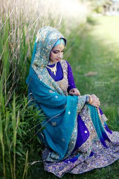 Beautiful Hijabi - the teal and royal blue colors suit the bride so well - AmnaHakim Photography - Indian Saudi Filipino Wedding