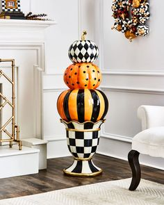 Shop NM Courtly Stacking Pumpkin Topiary from MacKenzie-Childs at Horchow, where you'll find new lower shipping on hundreds of home furnishings and gifts. Holidays Halloween, Halloween Crafts, Halloween Decorations, Halloween Ideas, Halloween Stuff, Halloween Pallet, Country Halloween, Outdoor Decorations, Halloween House