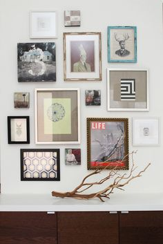 gallery wall ideas: magazine cover, fabric, quirky art