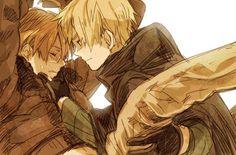 いち - Hetalia America / England -I'm not sure what's going on but I see Arthur comforting a crying Alfred so I must pin-