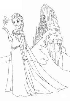 Coloriage gratuit reine des neiges - Elsa et son château de glace