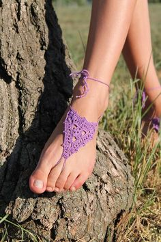 Crochet Wedding shoes Barefoot Sandals  Foot jewelry Yoga Purple  by GreenwoodToys, $17.00