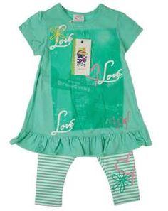 Set 2-teilig Love - Kleid und Leggins grün