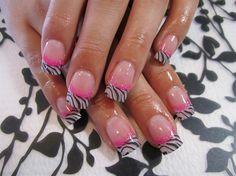 Awesome Zebra Print Gel Nails