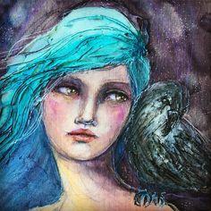 Pet crow. Blue hair. Add them to the bucket list. #janedavenportartist