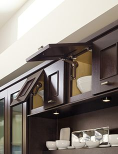 High Quality Cool Cabinet Doors That Open Upwards Allowing Easy Storage.