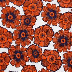 Stamp Floral Orange Cotton Jersey Knit Fabric