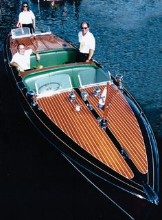 """""""Miss Arrowhead,"""" a 1940 Chris-Craft 27-foot Racing Runabout, powered by a Chris-Craft A120A Race Engine (846 cu. in., 375 HP at 2800 RPM, Speed: 52 MPH). Birdseye maple dash and second and third cockpit consoles. Dual folding Bugatti-style windshields. The largest and fastest """"barrel-stern"""" ever produced by Chris-Craft. The one existing boat of two built in this style."""