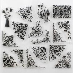CCINEE Promociones Una Hoja de Sello Transparente Flor de La Vid DIY Toma de Scrapbooking/Tarjeta/Decoración De La Navidad Suministros