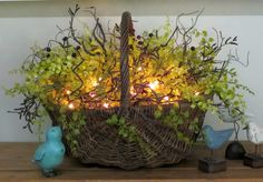 Lighted Basket ~ great idea for the garden too !!! :)