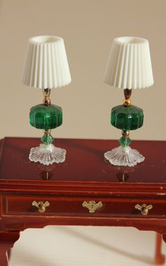 Matching Table Lamps Miniature Dollhouse Decor Dark Green  these look like toothpaste caps for shade & beads for the lamp