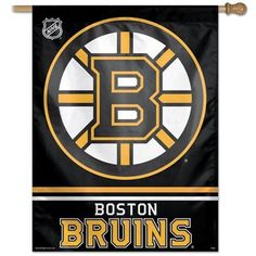 """Boston Bruins 27"""" x 37"""" Banner by WinCraft. $20.45. This is a special order item and takes longer to leave our warehouse, which is reflected in the estimate above This vertical hanging flag is one sided. It has vibrant colors & exciting graphics. Great for indoor or outdoor use. Made of a heavy-duty nylon material. It has an opening at the top to slip a flagpole through for hanging.. Save 54%!"""