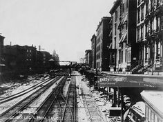 A view looking south from 56th Street down the railway tracks on Park Avenue, New York City, circa 1900. Between 1903 and 1907, the New York Central Railroad electrified the Park Avenue lines, allowing trains to run underground, and for the land above to be redeveloped into the present boulevard.