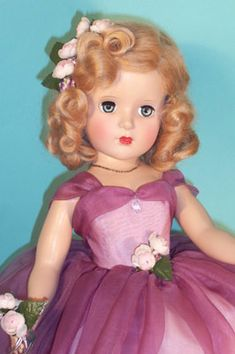 "18"" Princess Margaret Rose Bridesmaid is a breathtaking beauty in lavish grape purple silk gown over pink taffeta.  Lia Sargent dolls."