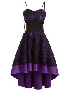Missroo Lace Up High Low Dress Dark Violet Lace A Line Dress, The Dress, Dress Long, High Low Prom Dresses, Homecoming Dresses, Bridesmaid Dresses, Emo Dresses, Cheap Dresses, Casual Dresses
