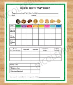 Cookie Booth Tally Sheet by nicoleprints on Etsy