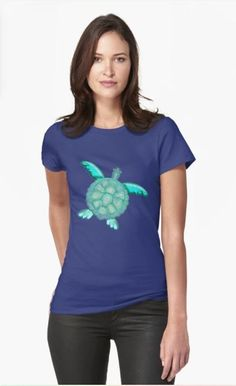 TYE AND DYE TURTLE 368 Fitted T-Shirt Designed and sold by sana90 Best Friend T Shirts, Moroccan Blue, Love Store, Mandala Pattern, T Shirts For Women, Clothes For Women, Apparel Design, My T Shirt, Chiffon Tops