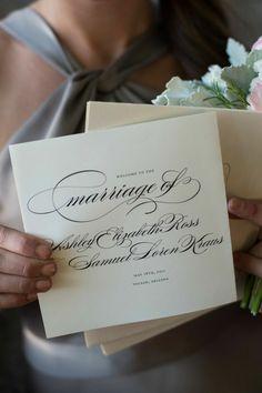 #VeraWang Wedding Invitations | #Calligraphy | See the wedding on SMP - http://www.StyleMePretty.com/little-black-book-blog/2014/01/21/jewish-loews-ventana-canyon-wedding/ Jacob Chinn Photography