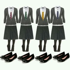 the girls clothes for the four main houses Slitherin, Griffindor, Hufflepuff, and Ravenclaw