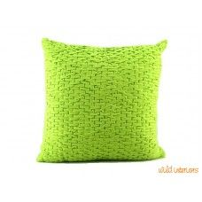 Brick Design Smocked Cushion - Lime