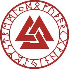 Asatru rune valknut talisman viking heathen red vinyl decal sticker