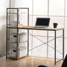 Found it at AllModern - Computer Desk with Built-In 4 Shelf Bookcase