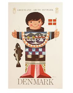 Greenland, Arctic Denmark vintage travel poster by Ib Antoni, ca. Vintage Travel Posters, Vintage Ads, Illustrator, Danish Culture, Denmark Travel, Retro Poster, Poster Vintage, Thinking Day, Illustrations Posters
