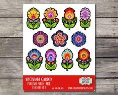 Polish Folk Art Sticker Sheet. Wycinanki paper cut style flowers. Folk style florals. Kiss cut sticker sheets. SS106 Sticker Paper, Stickers, Polish Folk Art, Folk Style, Papercutting, Folk Fashion, Monogram Gifts, Cut And Style, Pattern Art
