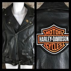 Wilson Leather Biker Riding Jacket Large Harley Davidson Patch Thinsulate Riding #WilsonsLeather #Motorcycle