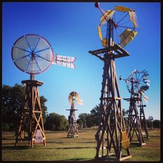 Windmills at Windmill Farms Bed & Breakfast just outside of Granbury, Texas. #visitgranbury