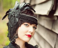 Black Feather Headdress Flapper Style Beaded by LaCocoRouge, $245.00