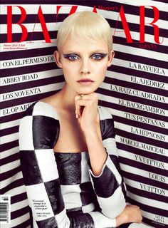 Ginta Lapina Mesmerizes in Louis Vuitton for Harper's Bazaar Spain February 2013 Cover (Op Art) Fashion Magazine Cover, Cool Magazine, Fashion Cover, Magazine Covers, Magazine Design, 1969 Fashion, Vogue Magazine, Retro Fashion, Harpers Bazaar