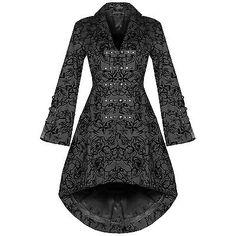 Womens-New-Black-Gothic-Steampunk-Military-Rockabilly-Flocked-Tattoo-Coat