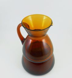 Amber Glass Creamer and Sugar Bowl Stackable Set by WildGooseChase on Etsy