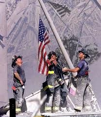 Shortly after 9/11 these firemen raised the American Flag.