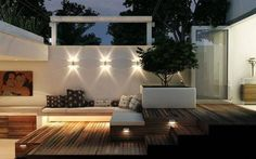 Backyard - Wood decking , white rendered walls and raised contemporary planter - fabulous garden/patio lighting Outdoor Rooms, Outdoor Gardens, Outdoor Living, Outdoor Decor, Australian Lighting, Contemporary Planters, Patio Lighting, Lighting Ideas, Ceiling Lighting