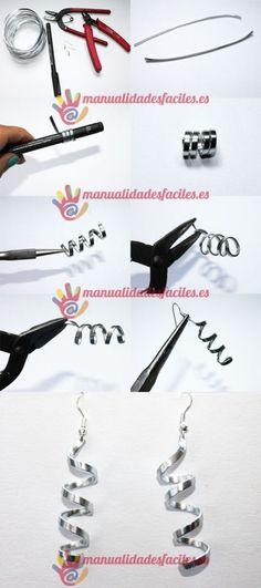tuto boucles d'oreille en fil d'aluminium plat Fournitures sur : http://www.rentreediscount.com/Activites-manuelles,57722.html