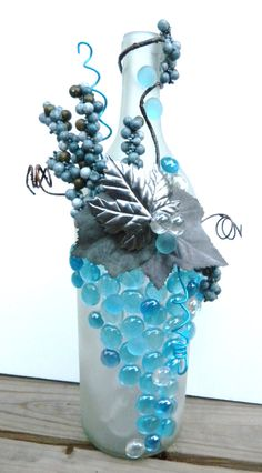 Decorative Embellished Wine Bottle Light withTurquoise Blue Leaves, Berries, and Glass Gems