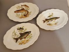 Vintage Fishing Game Fish Oval Serving Side Plates x 3 in Collectables, Kitchenalia, Tableware | eBay!