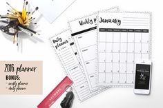2016 planner ( ink dot background ) by Chic templates on Creative Market