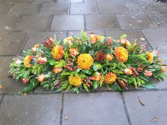 #Seasonal #autumn #funeral #spray with a #tropical twist. Florist London, Funeral Tributes, Same Day Flower Delivery, Funeral Flowers, Tropical, Autumn, Seasons, Plants, Fall Season